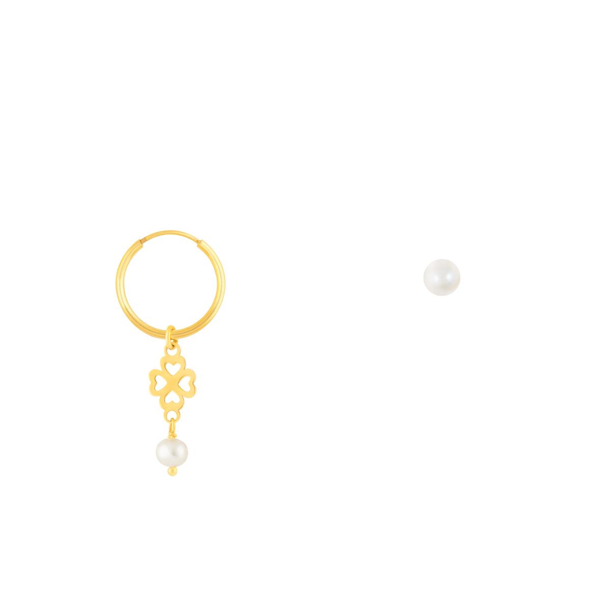 گوشواره طلا شبدر و مروارید