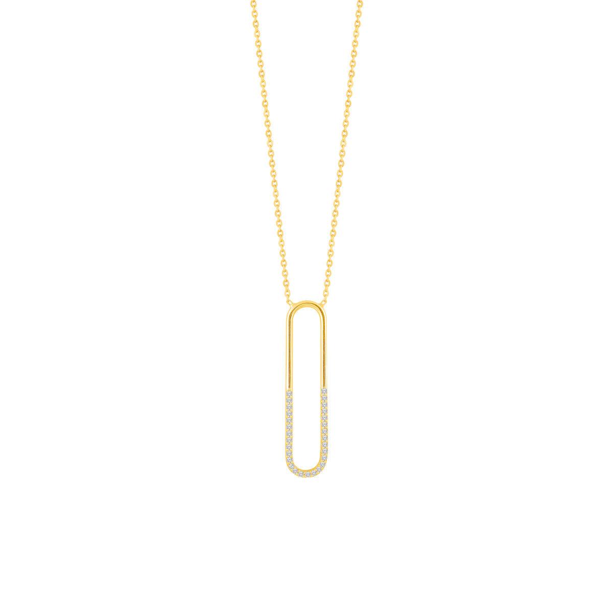 گردنبند طلا بیضی نگین دار
