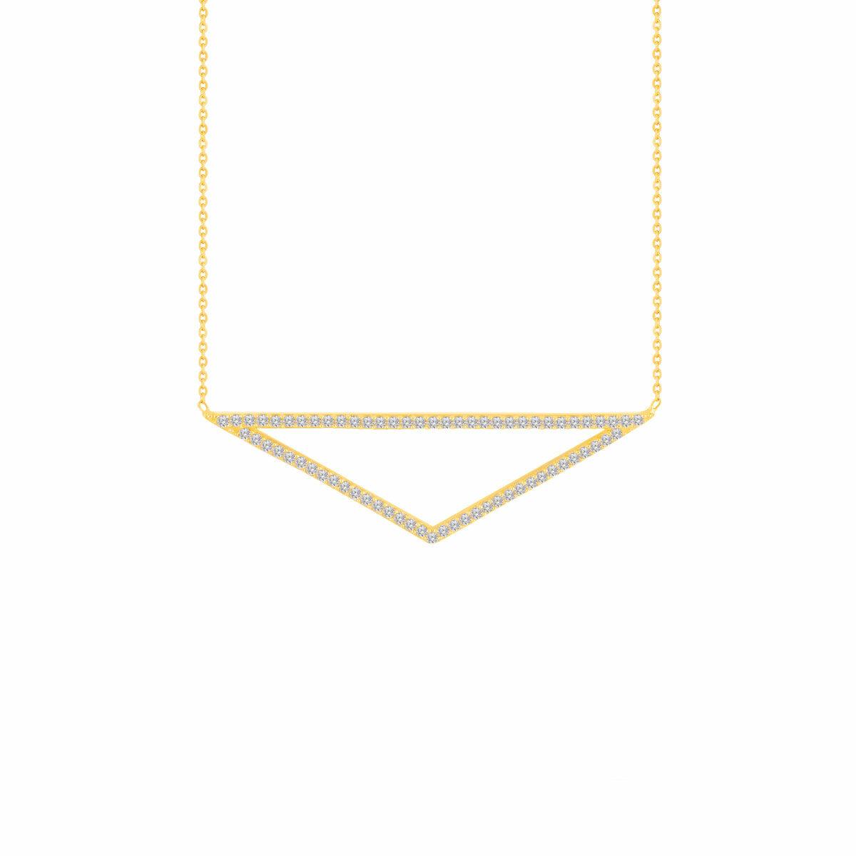 گردنبند طلا مثلث نگین دار