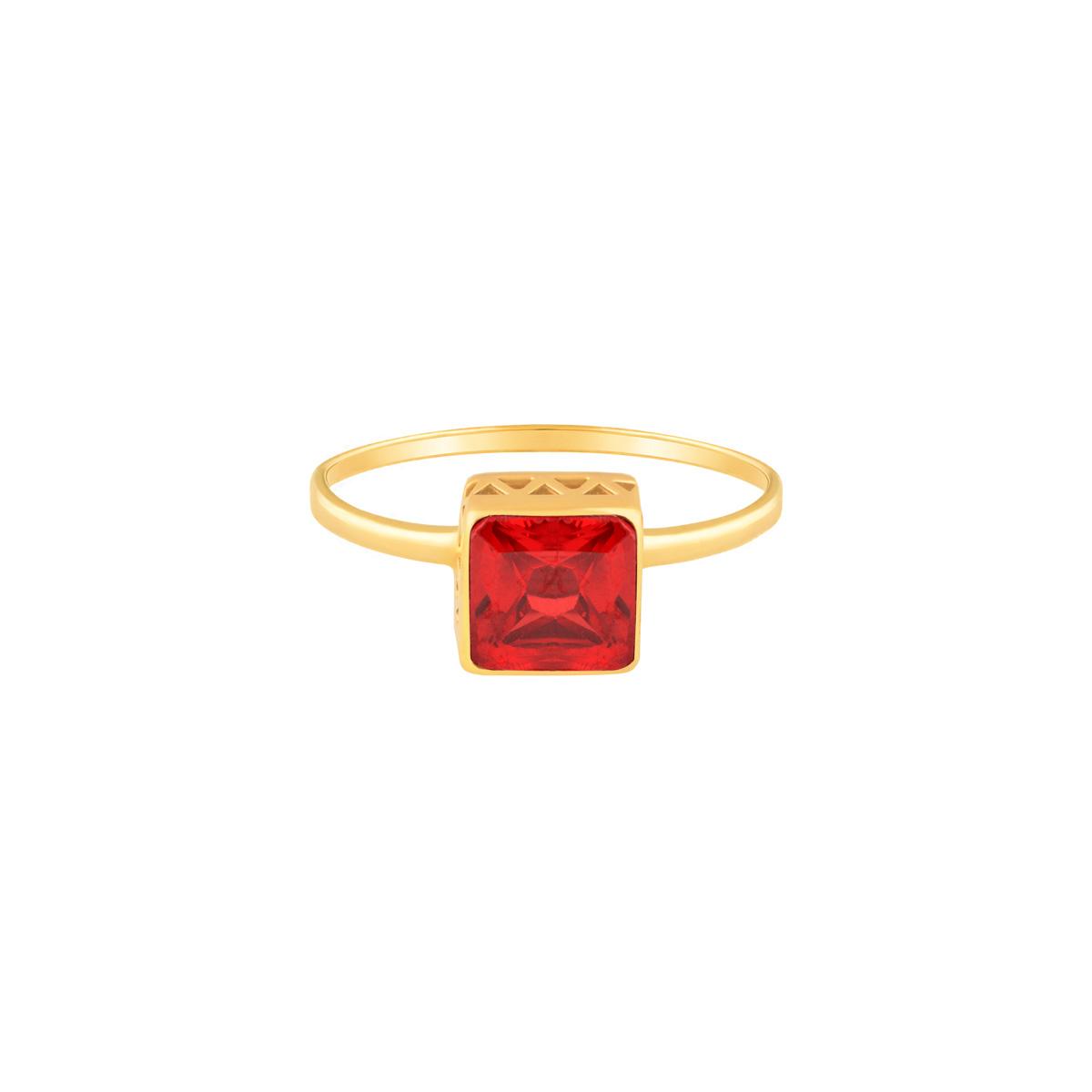 انگشتر طلا تک نگین مربع قرمز