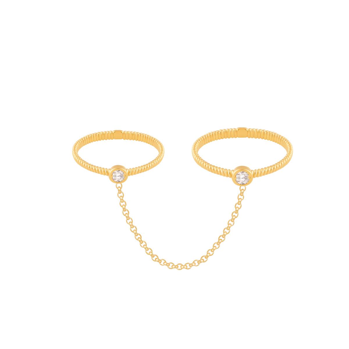 انگشتر طلا تک نگین سفید متصل