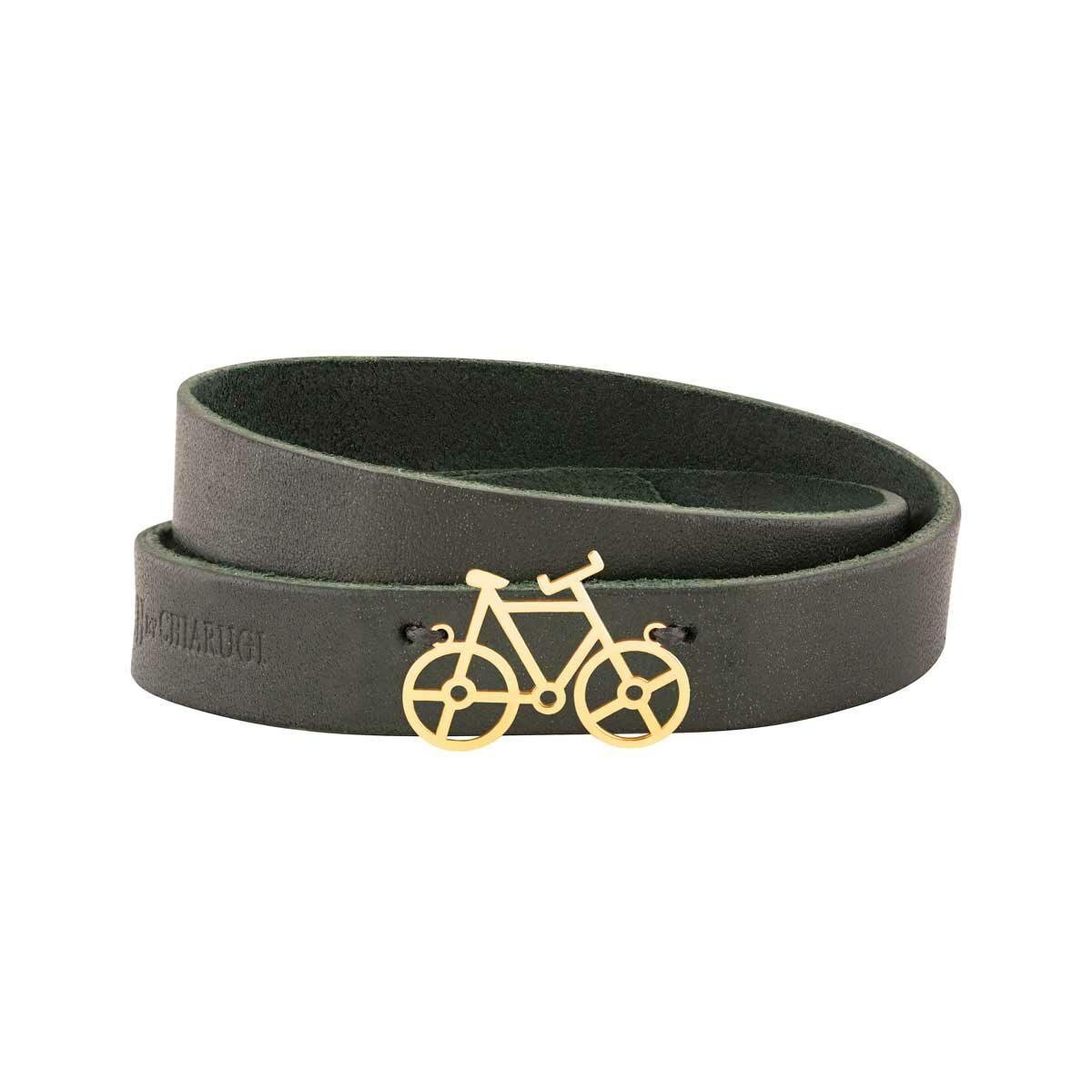 دستبند طلا چرمی دوچرخه