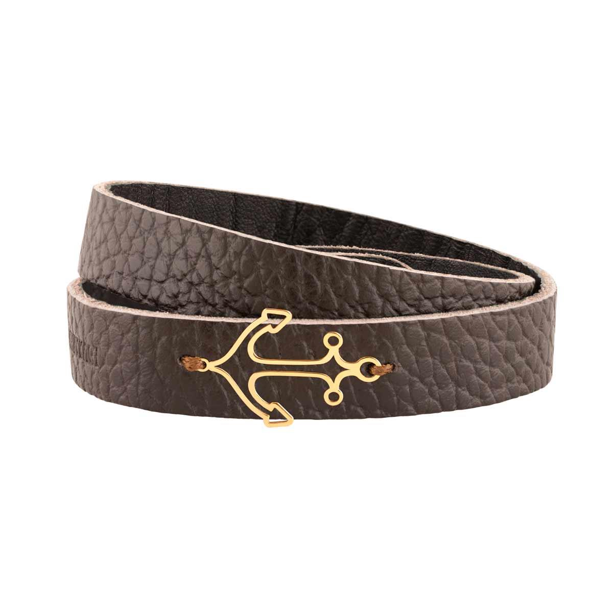 دستبند طلا چرمی لنگر
