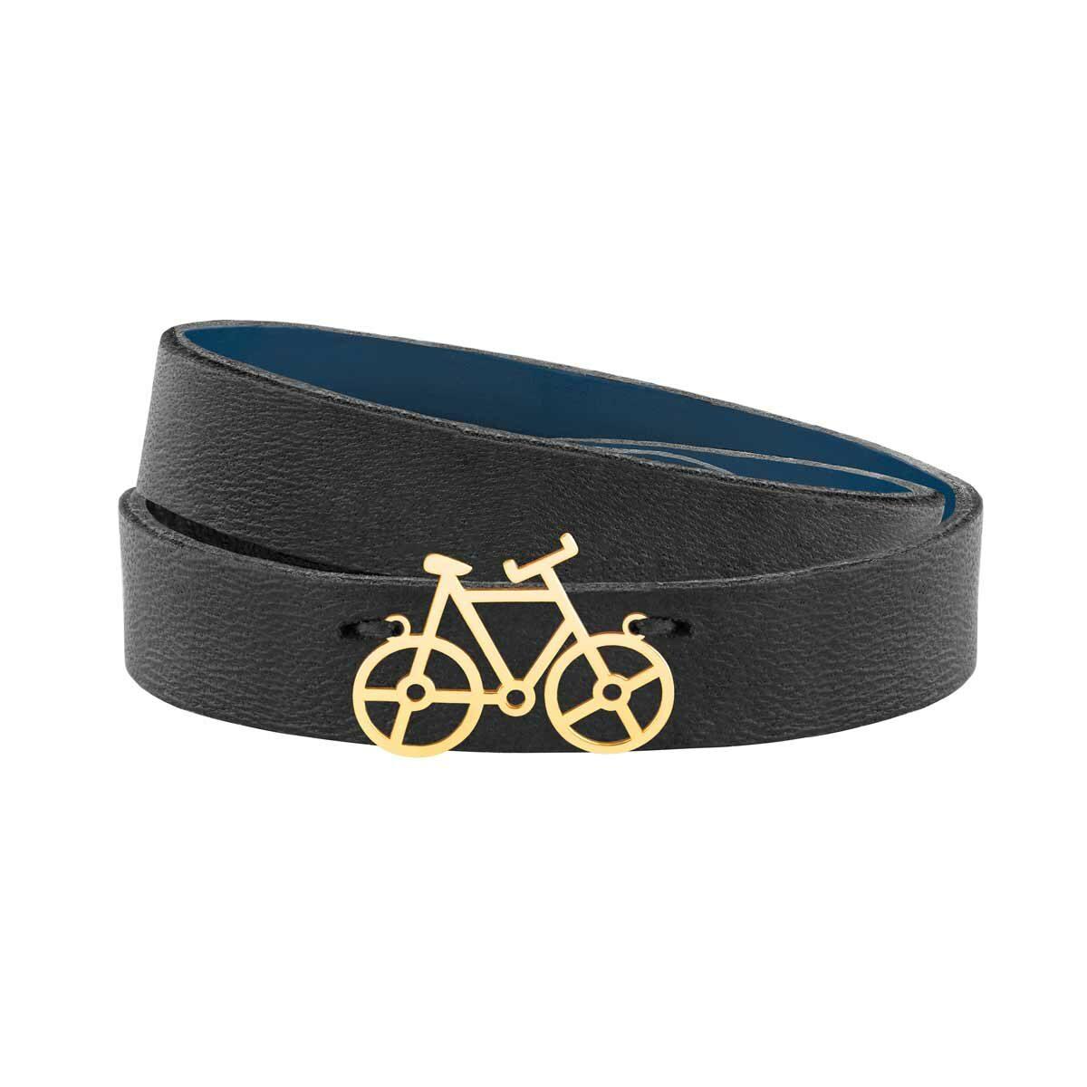 دستبند طلا چرمی مشکی دوچرخه