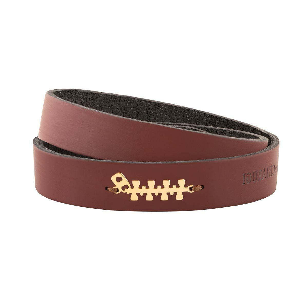 دستبند طلا چرمی زیپ