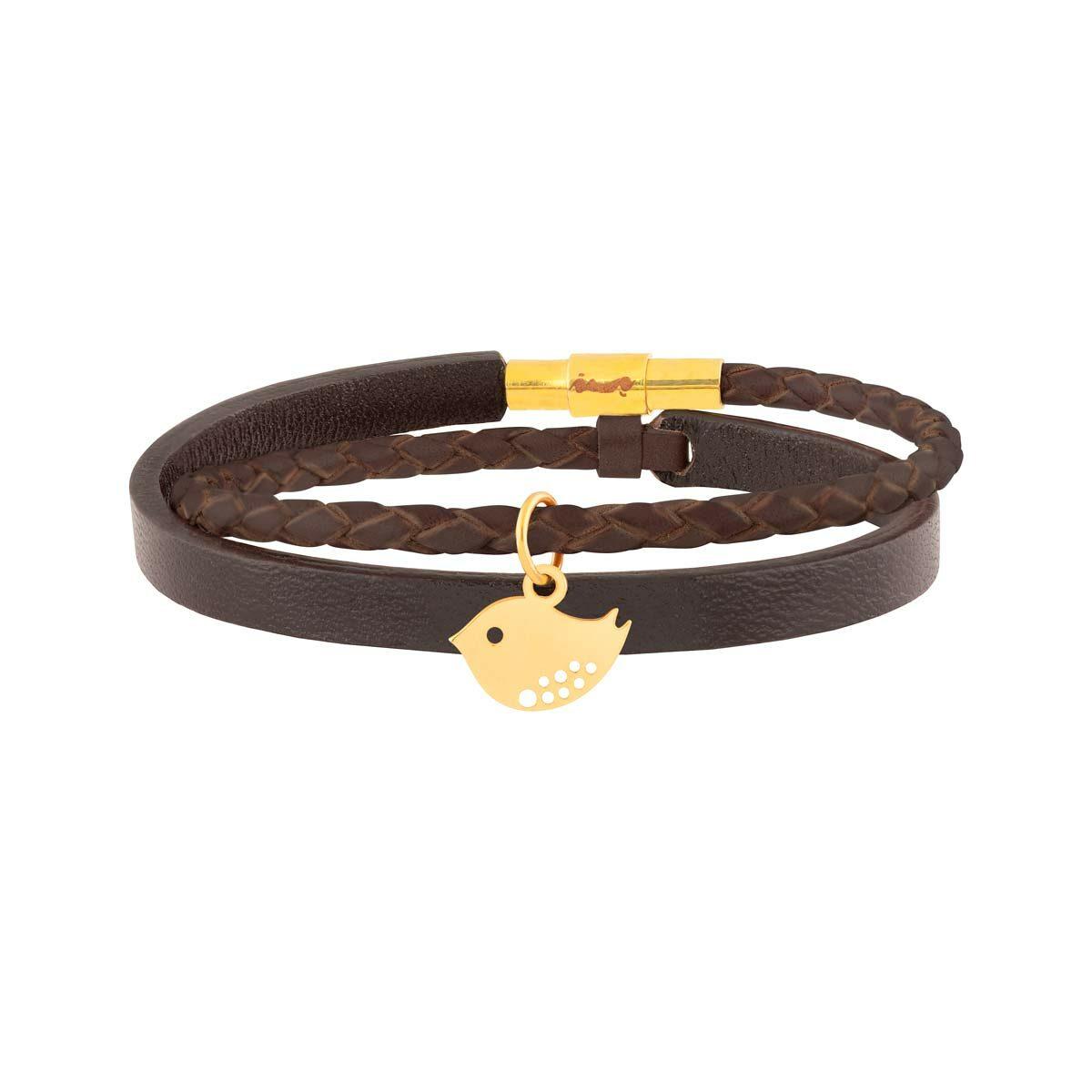 دستبند طلا چرمی گنجشک
