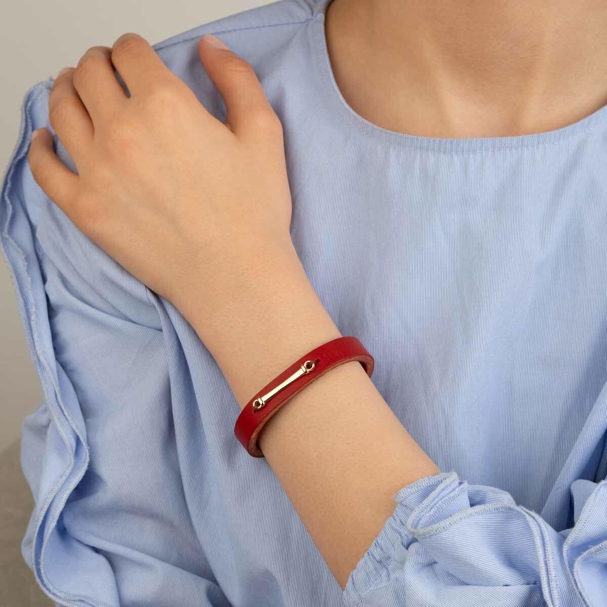 دستبند طلا چرمی قرمز پلیت