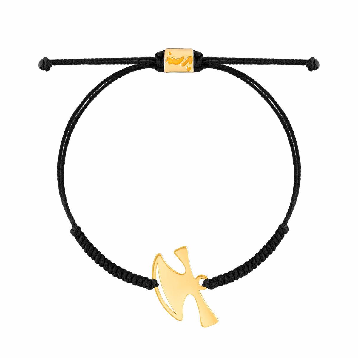 دستبند طلا بافت مشکی تبر