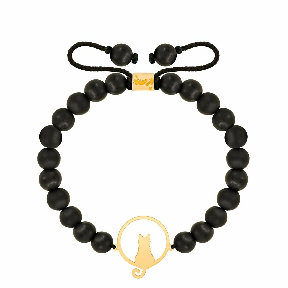 دستبند طلا سنگی گربه و دایره