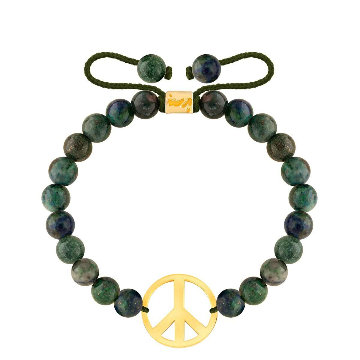 دستبند طلا سنگی PEACE و لاجورد