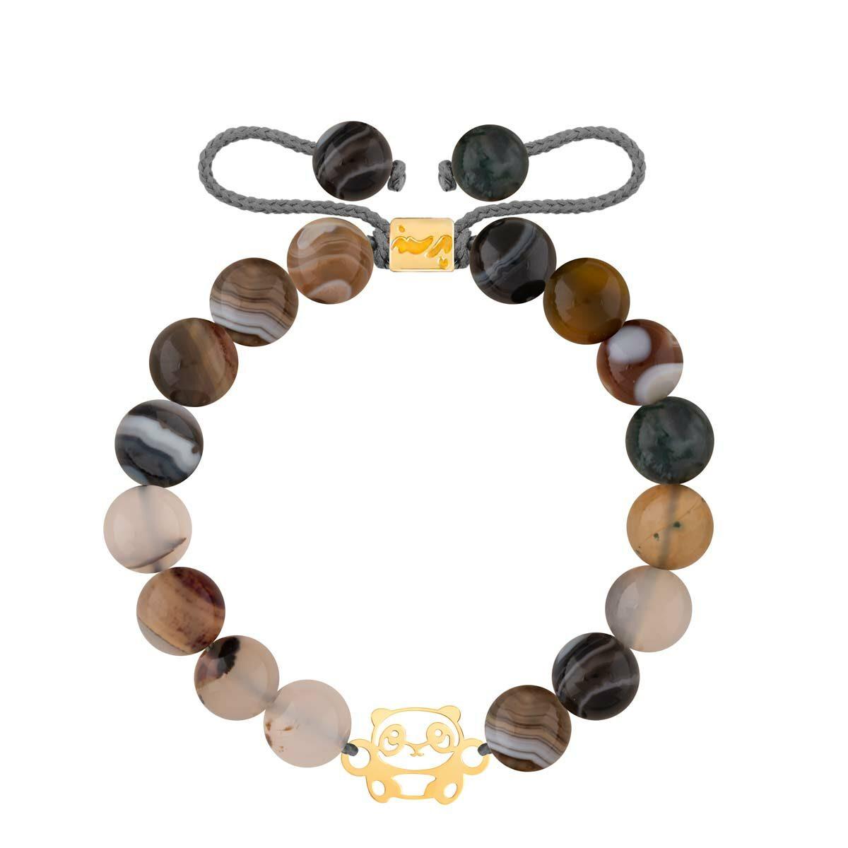 دستبند طلا سنگی پاندا و صدف