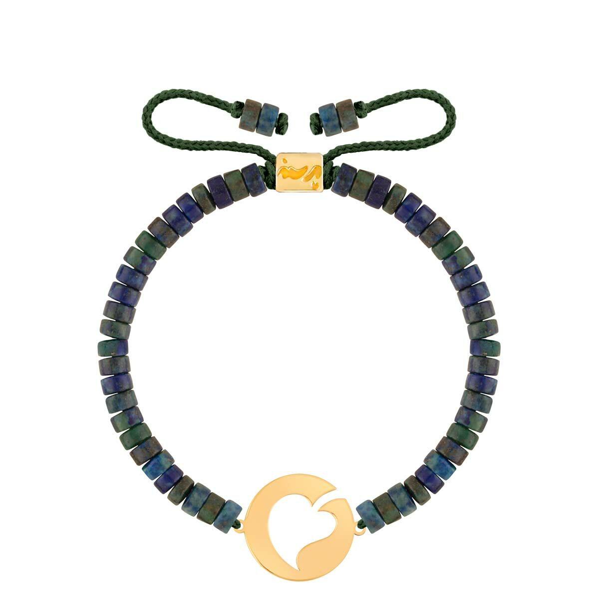 دستبند طلا سنگی پلاک برگ