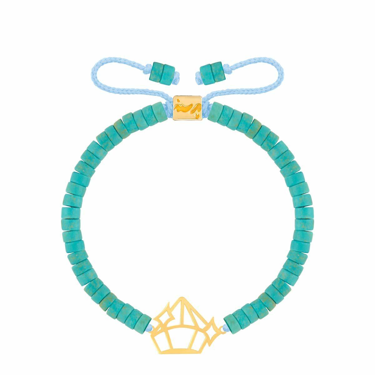 دستبند طلا سنگی الماس و فیروزه