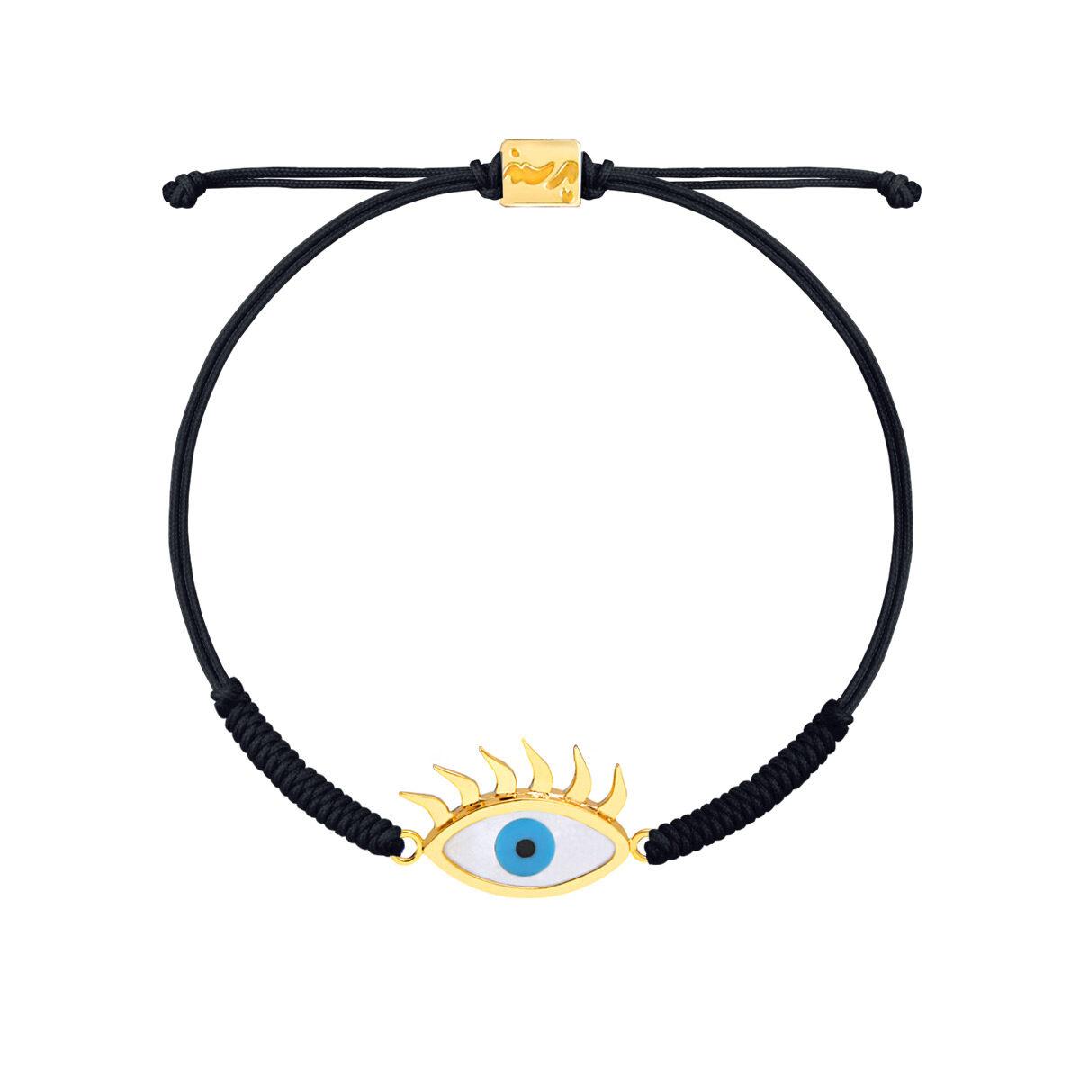 دستبند طلا بافت مکرمه مشکی چشم مژه دار