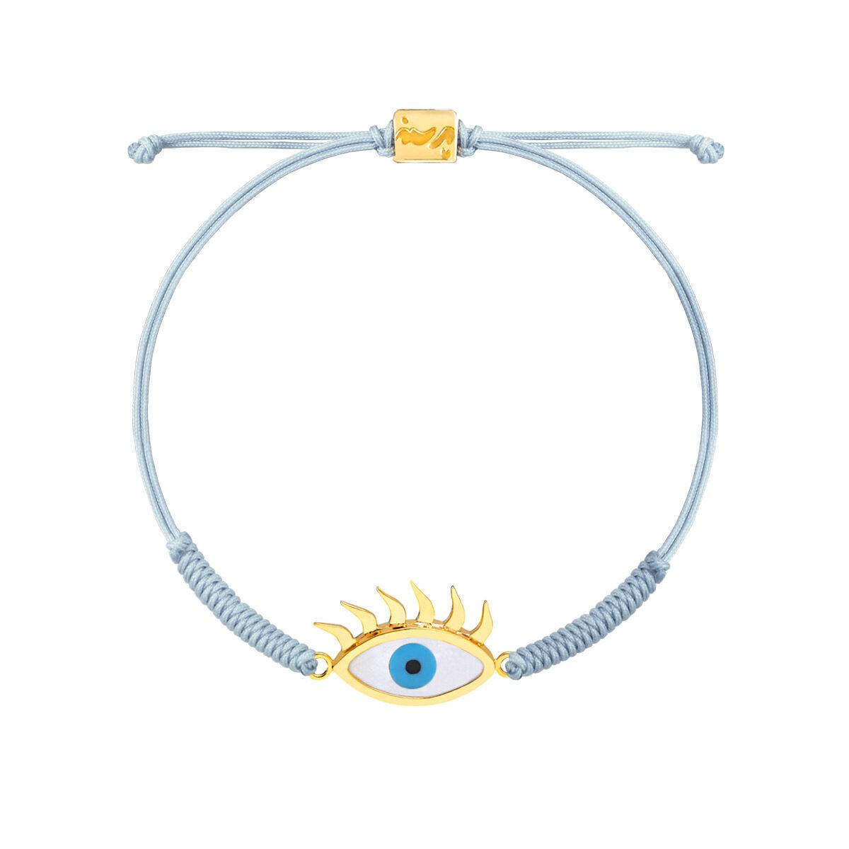 دستبند طلا بافت مکرمه آبی روشن چشم مژه دار