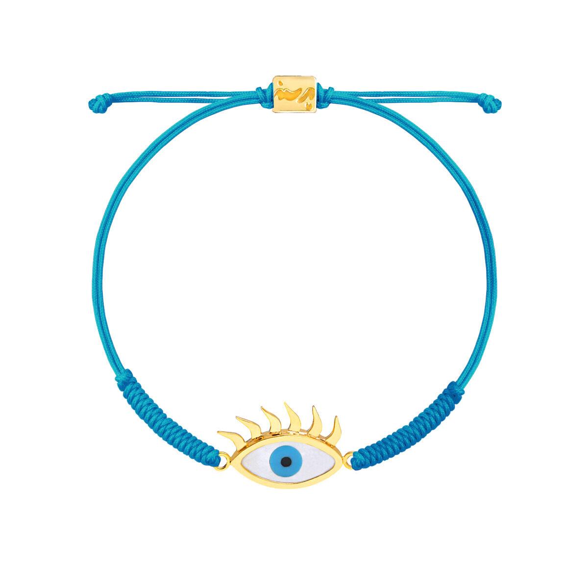 دستبند طلا بافت مکرمه آبی کارتونی چشم مژه دار