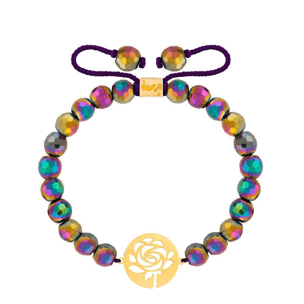 دستبند طلا سنگی پلاک گل رز و حدید رنگی