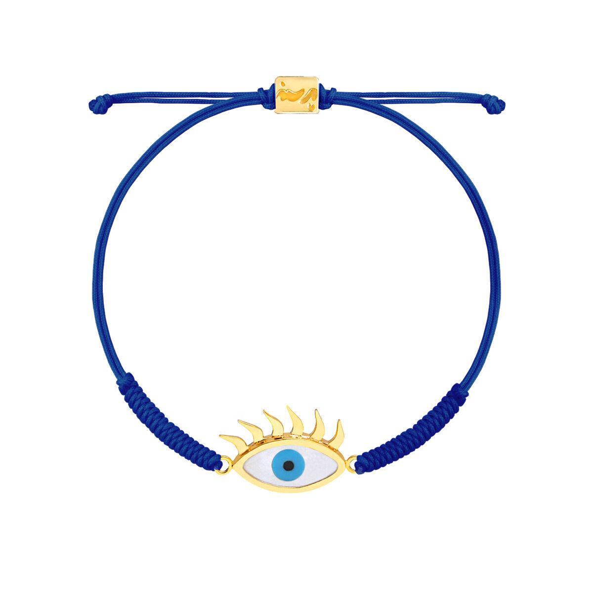دستبند طلا بافت مکرمه آبی چشم مژه دار