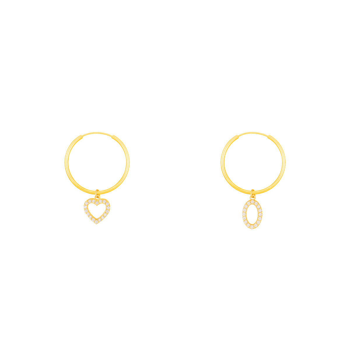گوشواره طلا آویز دایره و قلب نگین دار