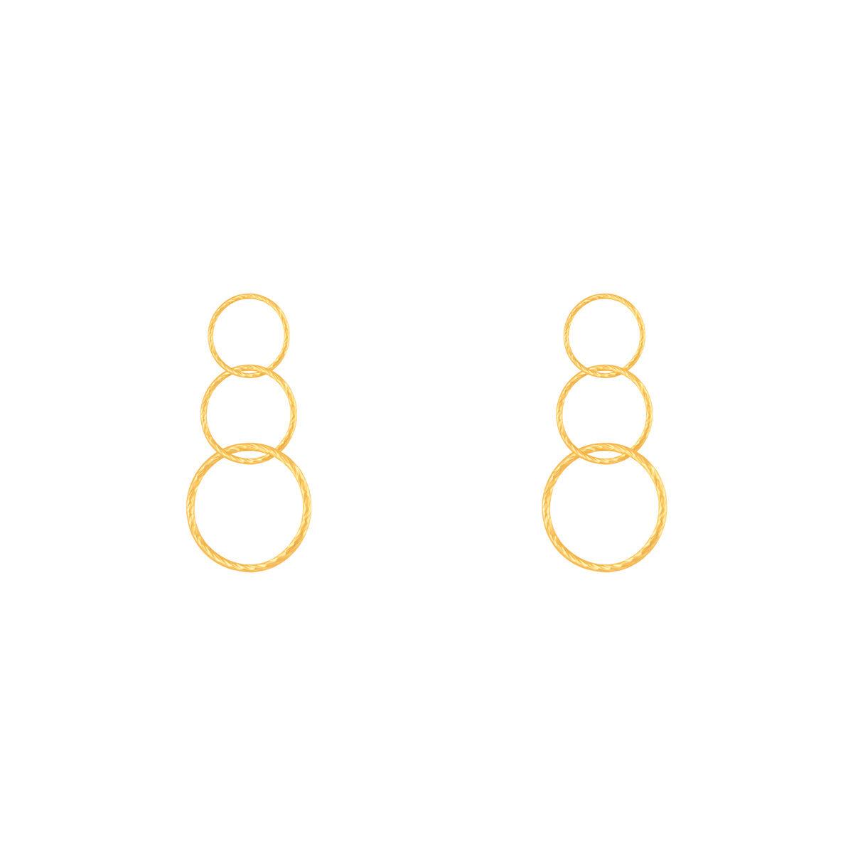 گوشواره طلا سه حلقه پیچ