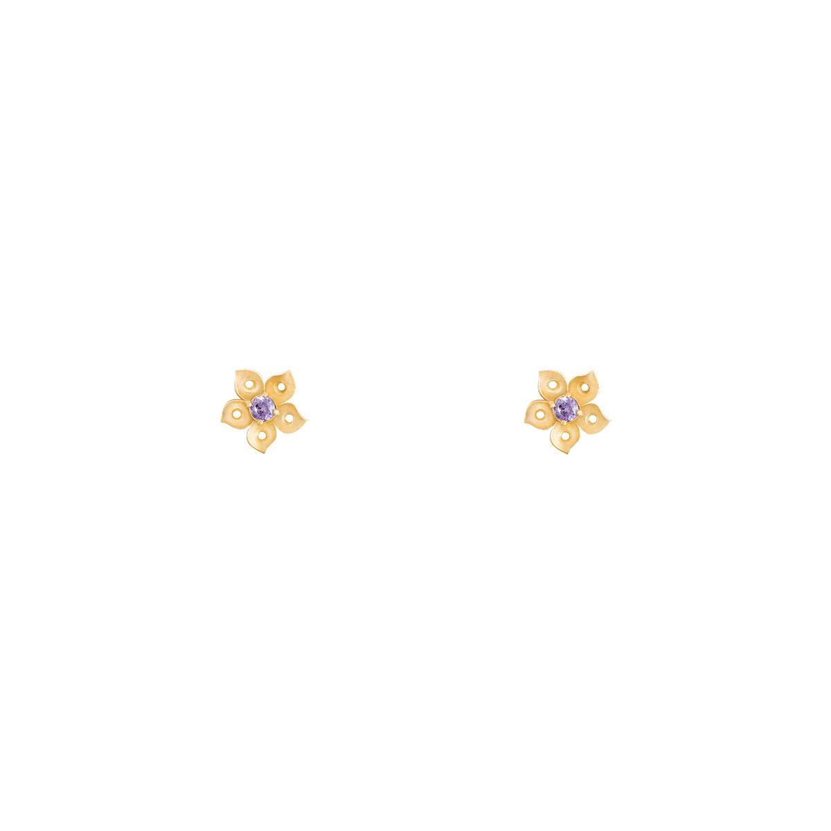 گوشواره طلا گل تک نگین بنفش