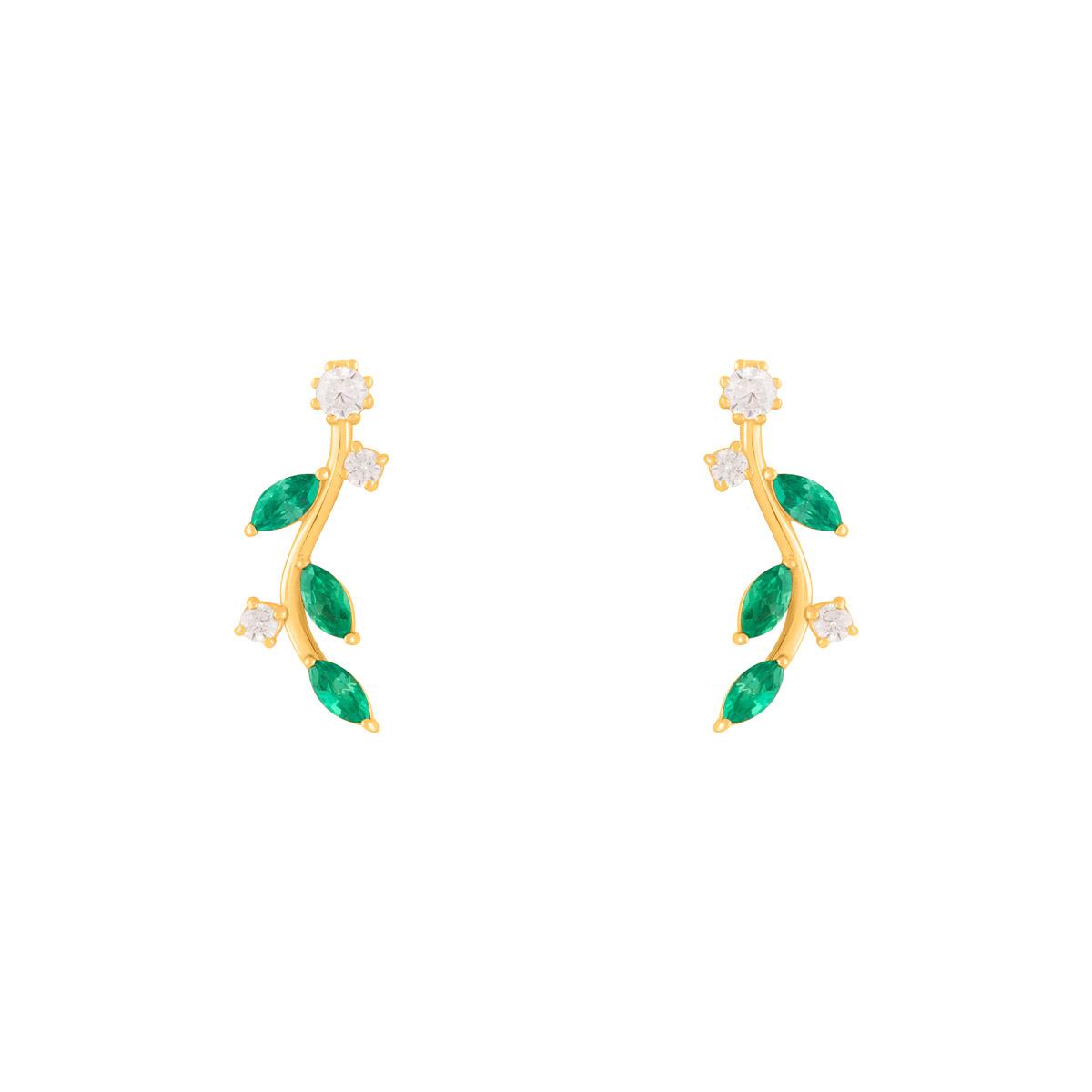 گوشواره طلا برگ سبز و لونا