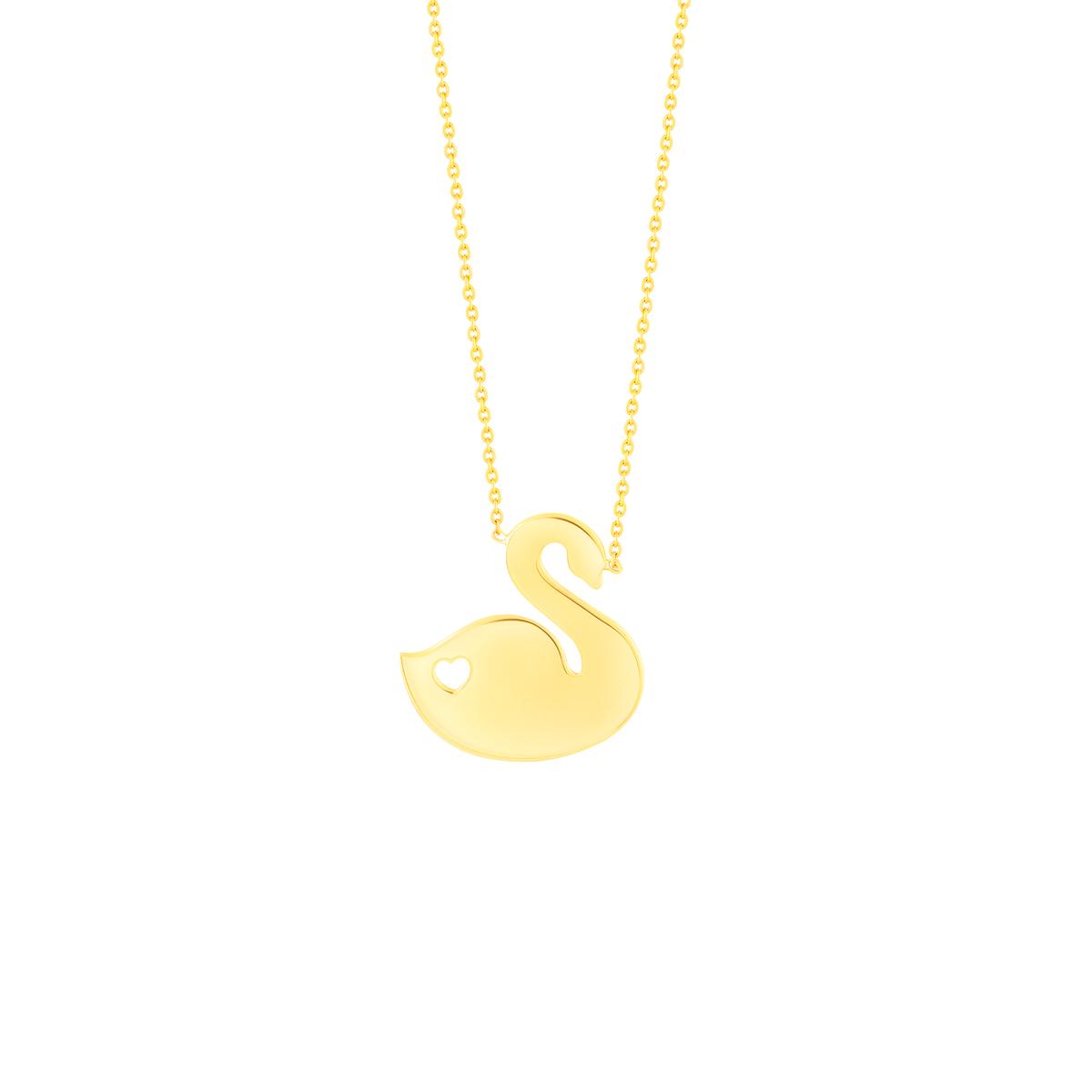 گردنبند طلا قو و قلب