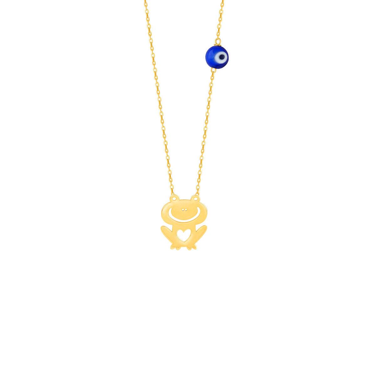 گردنبند طلا بچه گانه قورباغه