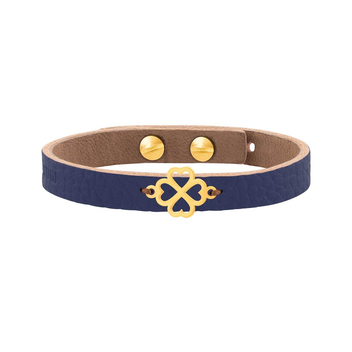 دستبند طلا چرم آبی شبدر