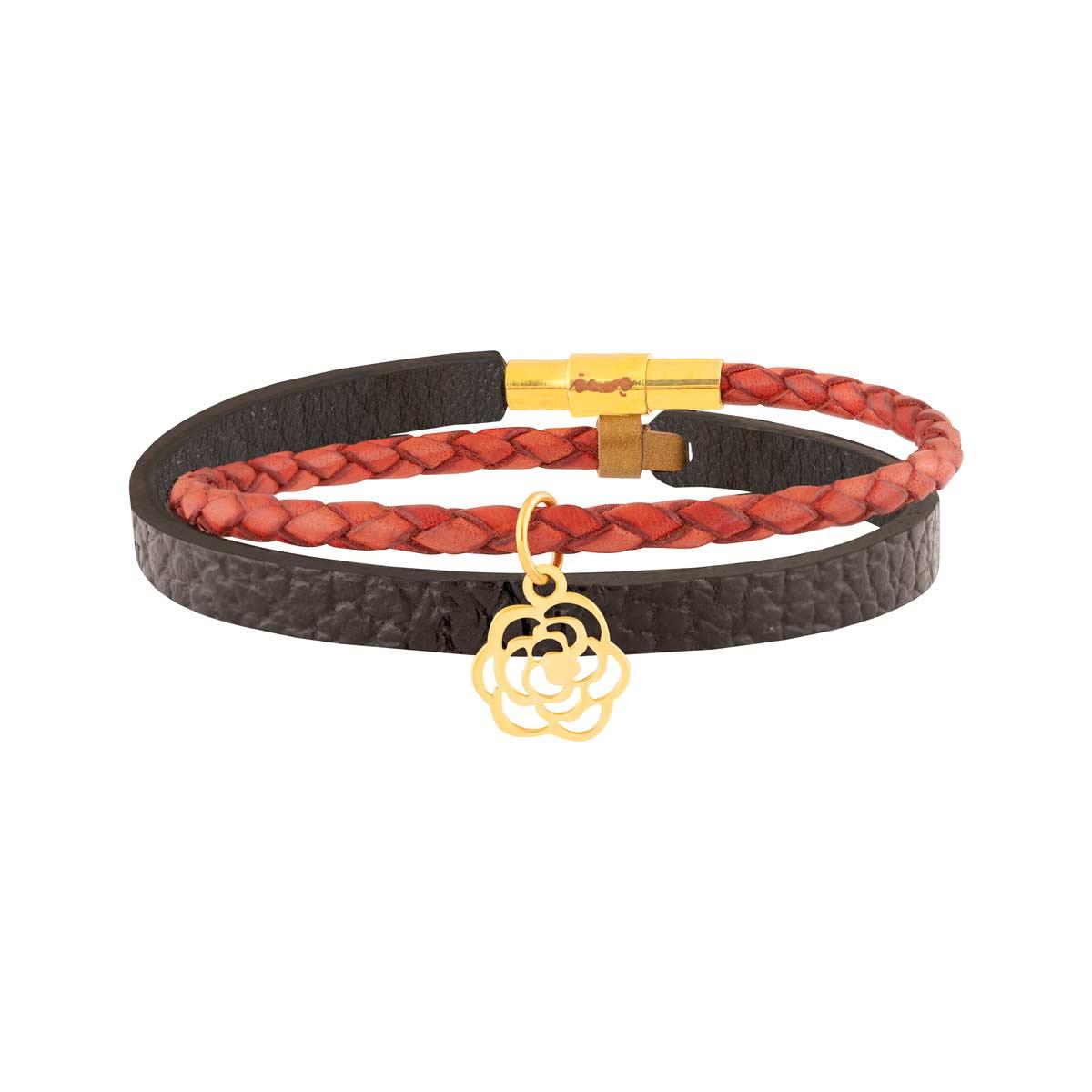 دستبند طلا چرمی گل رز