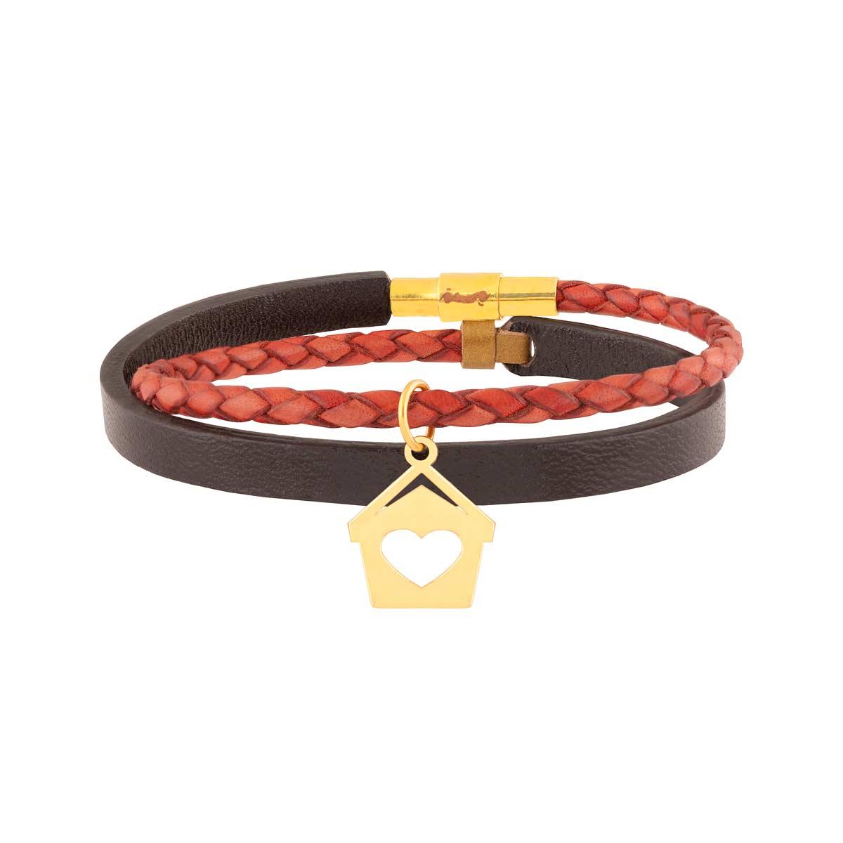 دستبند طلا چرمی خانه و قلب