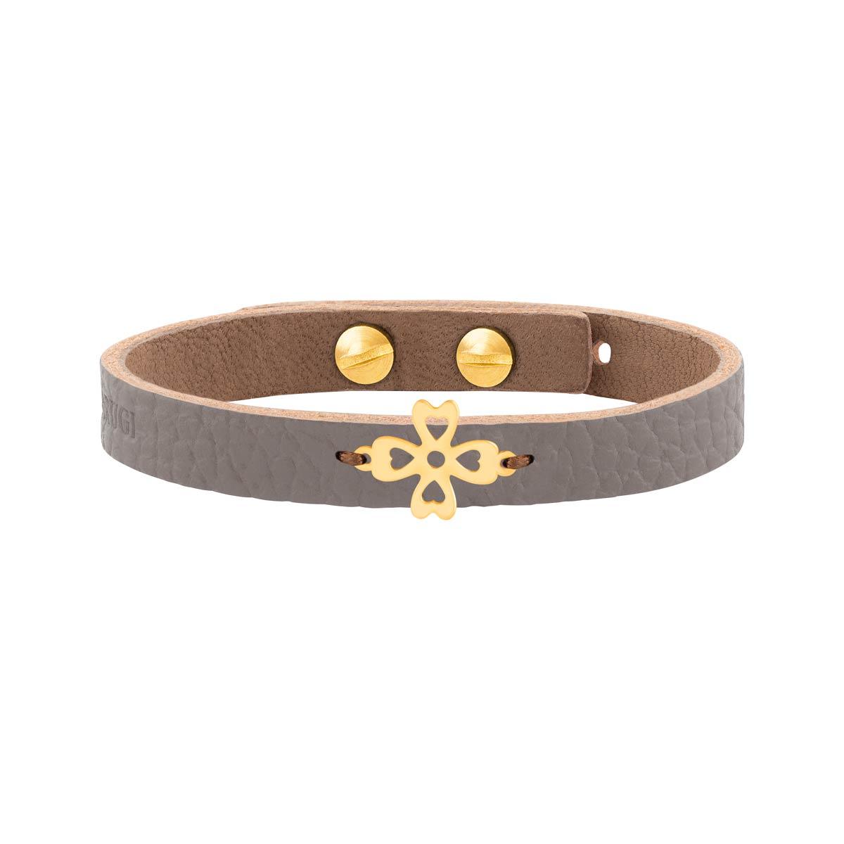 دستبند طلا چرمی طوسی شبدر