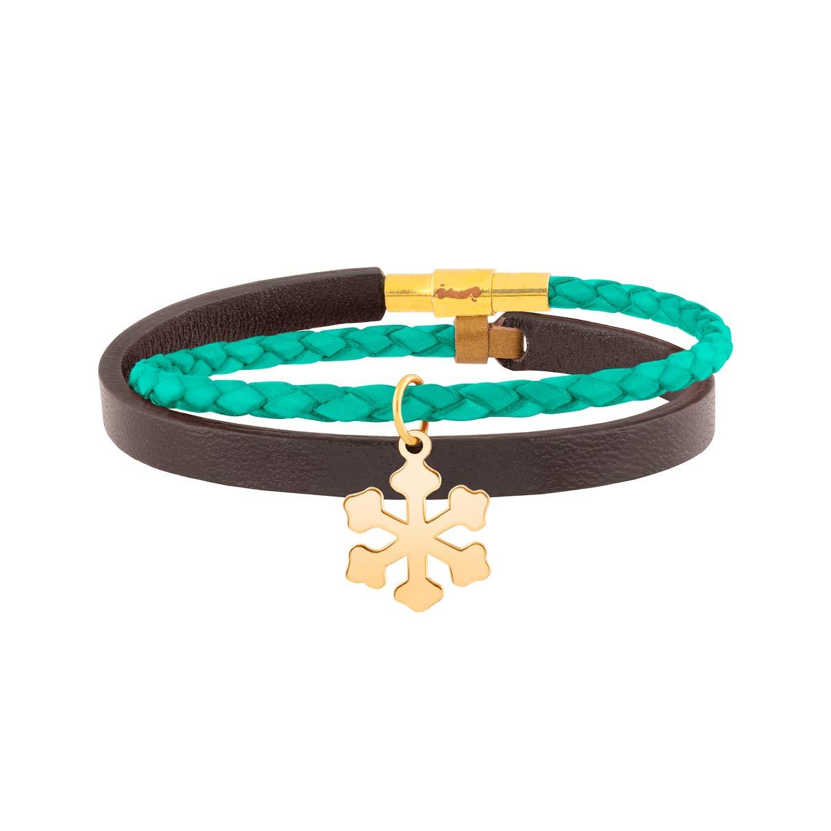 دستبند طلا چرمی دانه برف