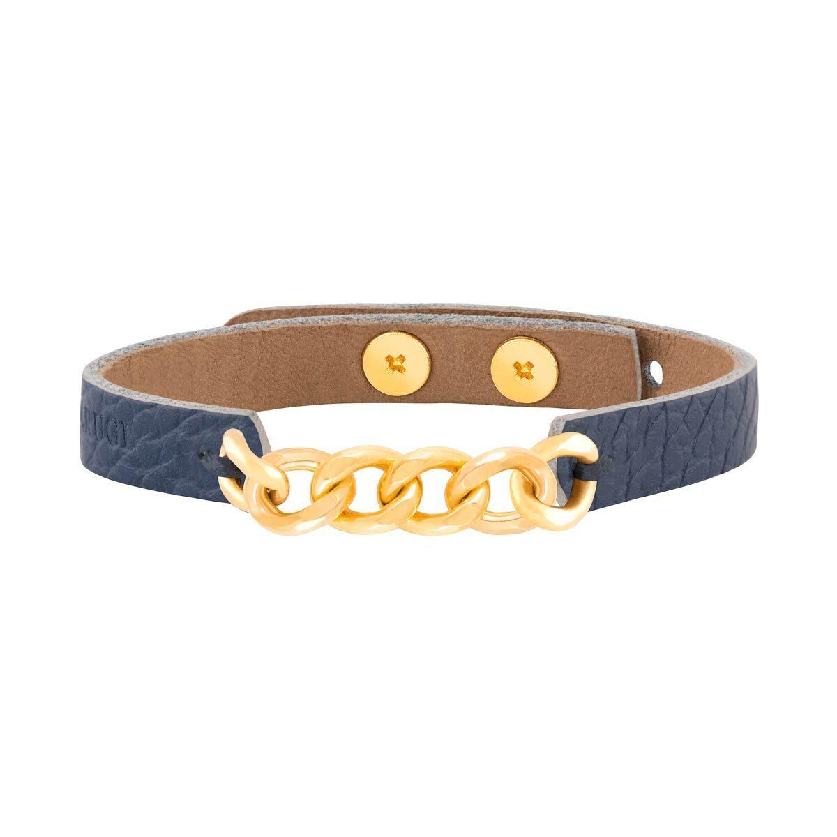 دستبند طلا چرمی آبی شش حلقه کارتیه