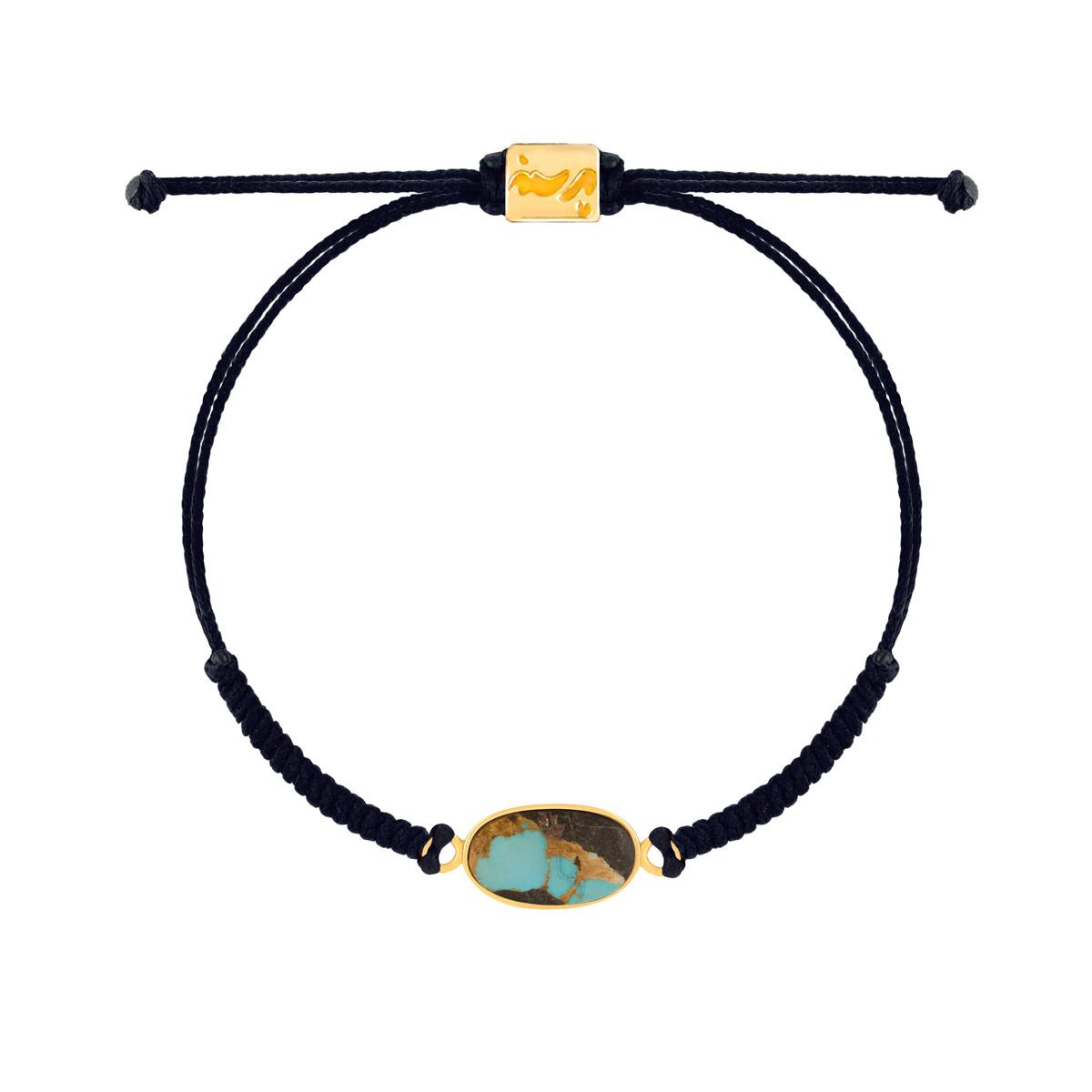 دستبند طلا بافت مشکی فیروزه بیضی