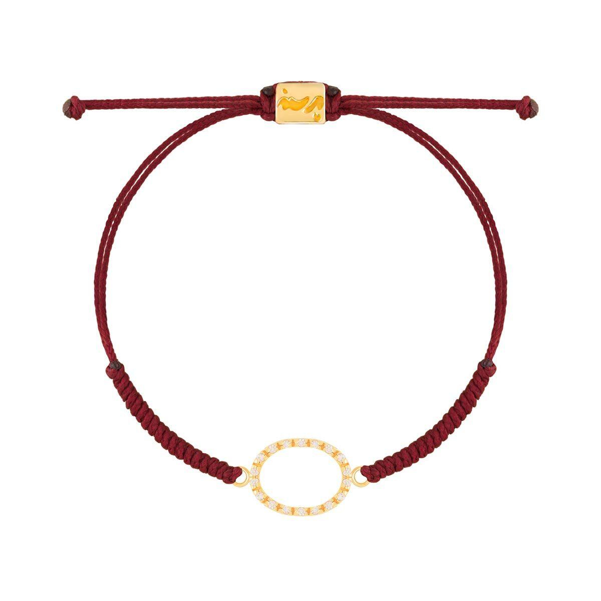 دستبند طلا بافت زرشکی بیضی نگین دار