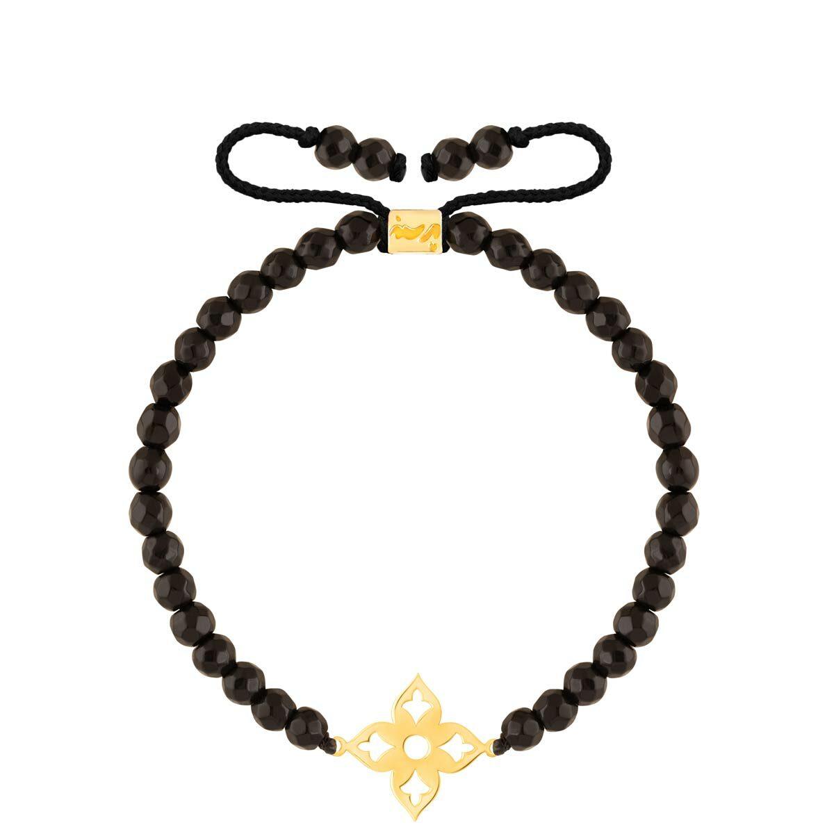 دستبند طلا سنگی اسلیمی و اونیکس