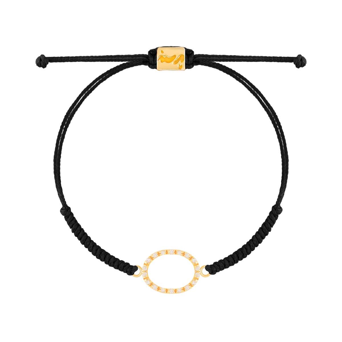 دستبند طلا بافت مشکی بیضی نگین دار