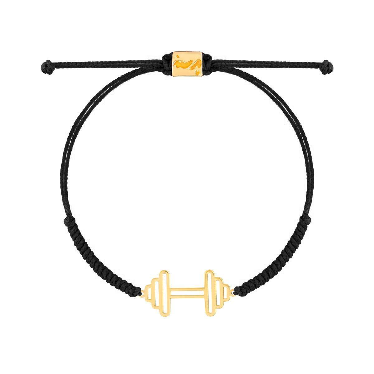 دستبند طلا بافت مشکی دمبل بزرگ