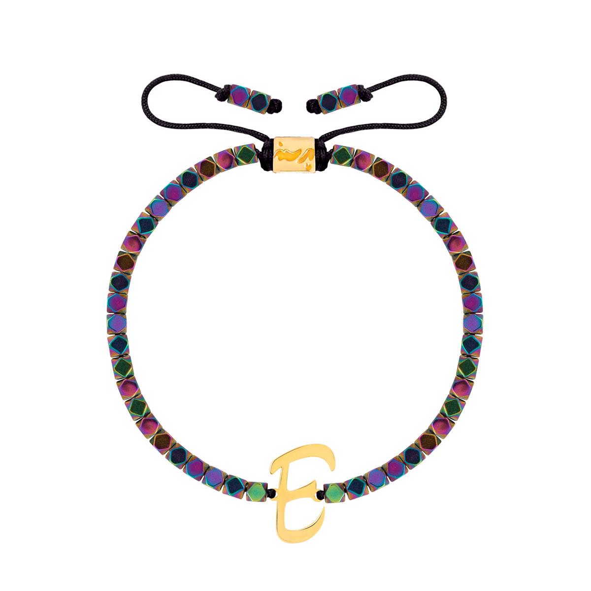 دستبند طلا سنگی حرف E