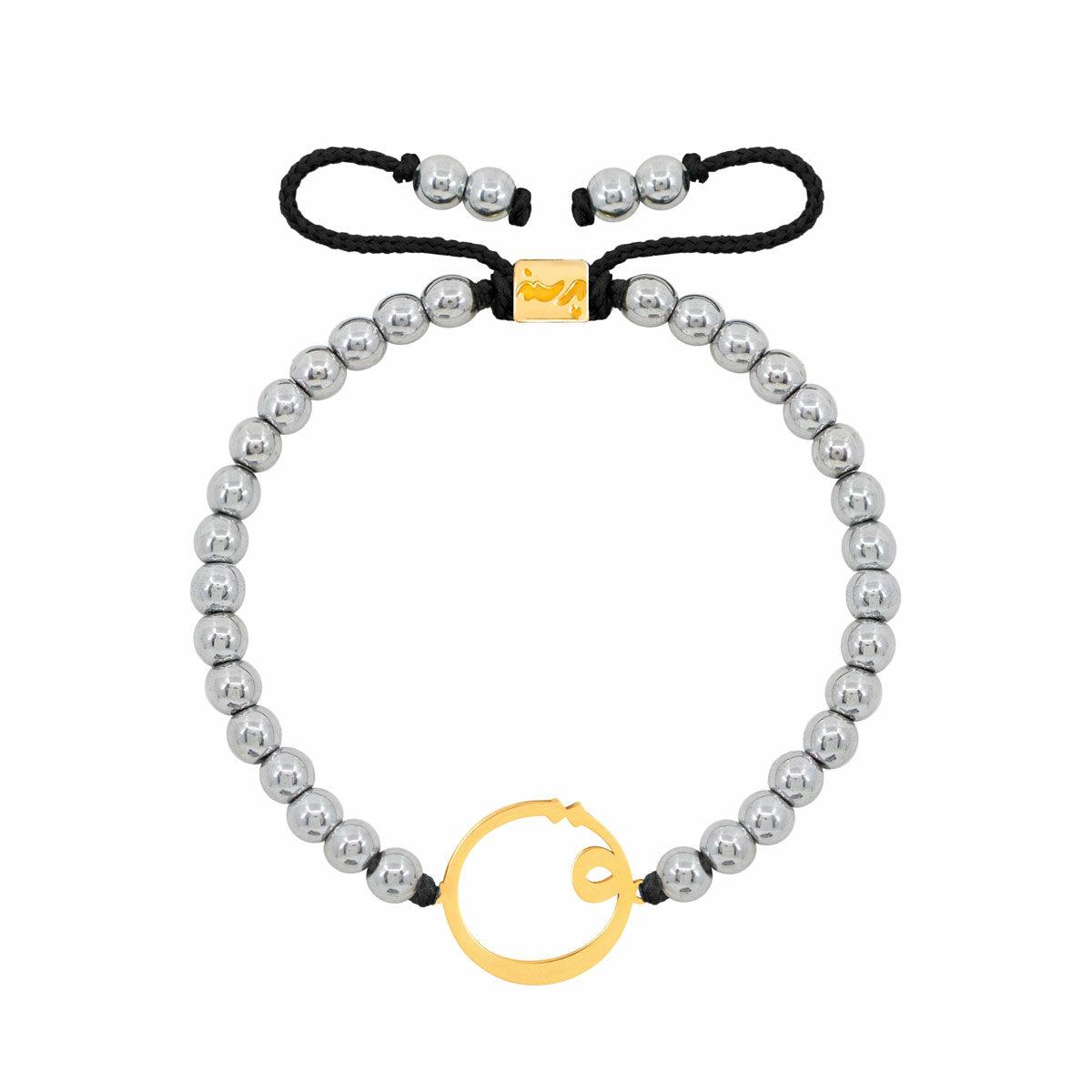 دستبند طلا سنگی حرف ق