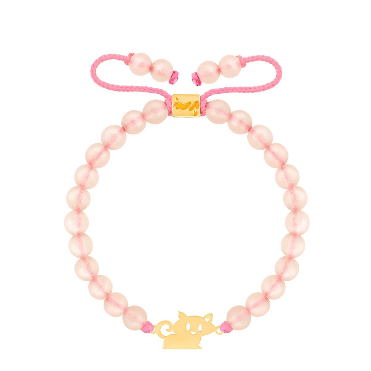 دستبند طلا بچه گانه سنگی گربه