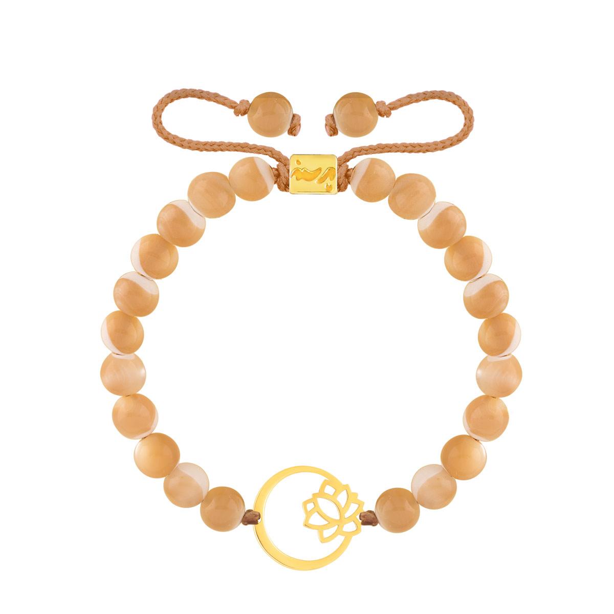 دستبند طلا سنگی گل و دایره