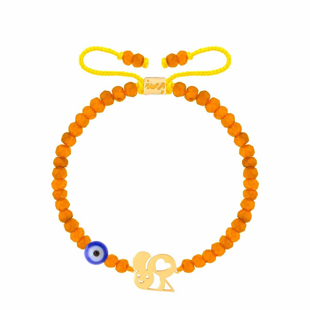 دستبند طلا بچه گانه سنگی زنبور و قلب