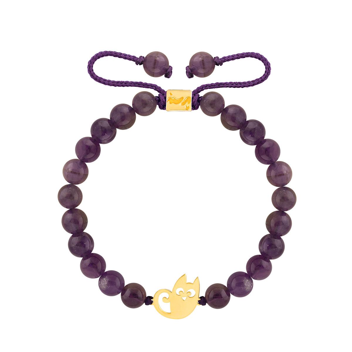 دستبند طلا سنگی گربه و آمیتیس