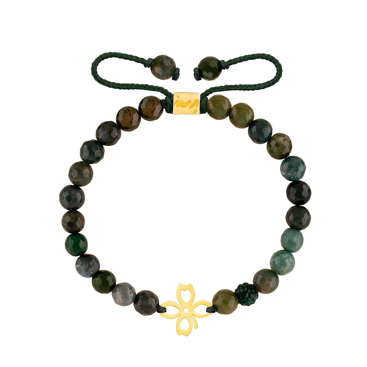 دستبند طلا سنگی شبدر و لاجورد