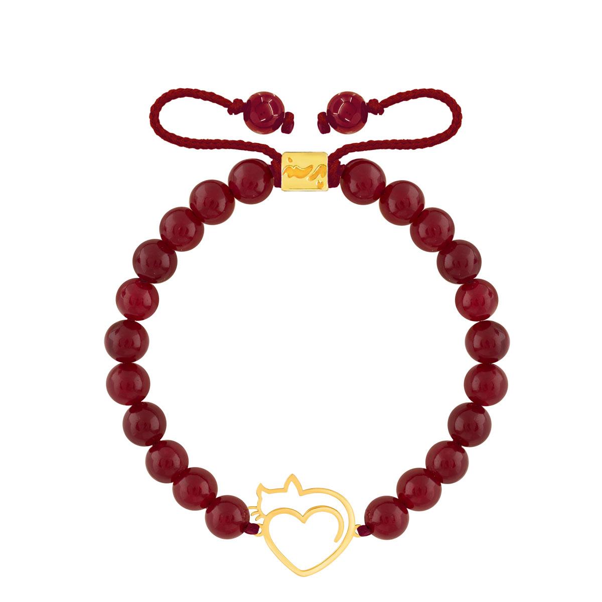 دستبند طلا سنگی گربه و قلب
