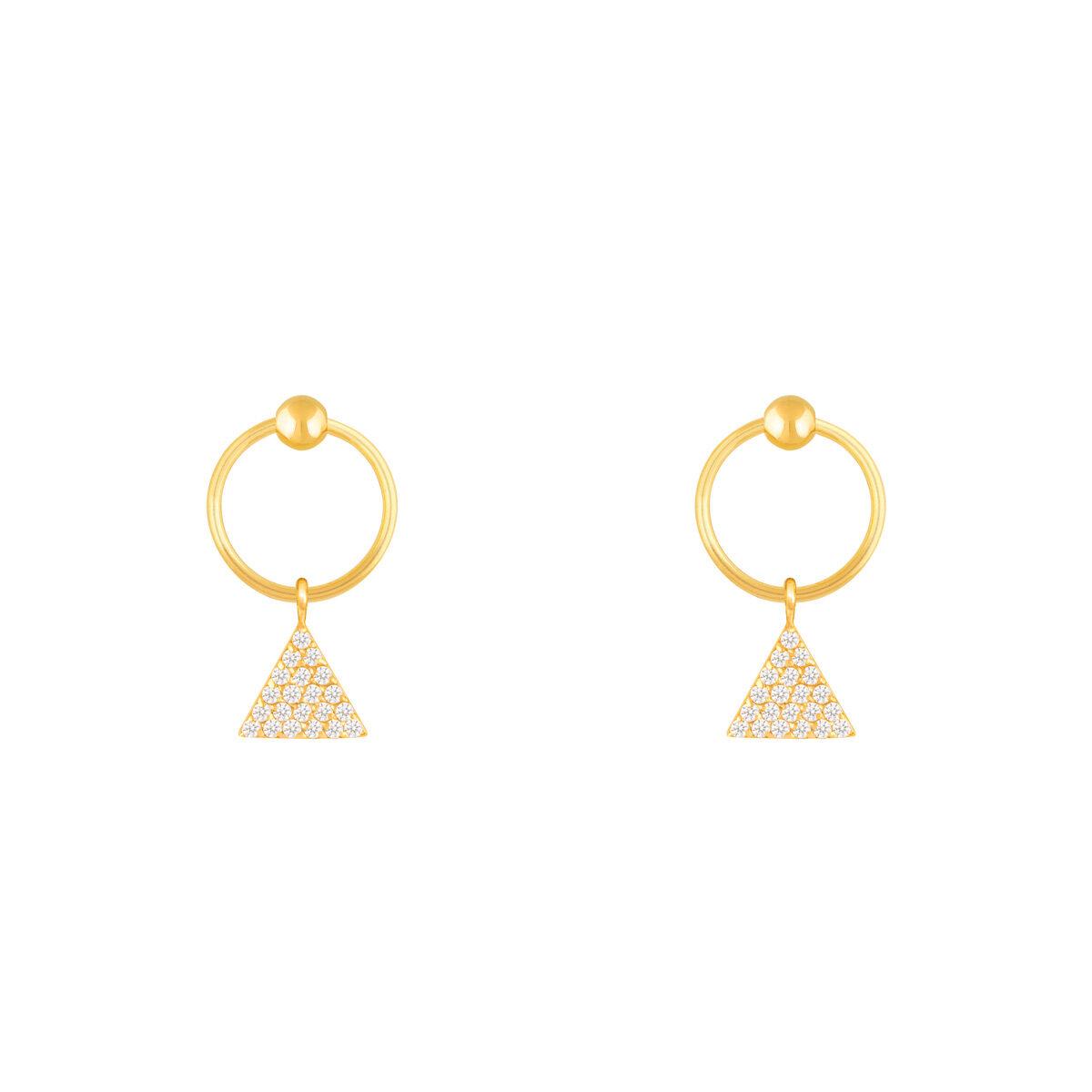 گوشواره طلا مثلث نگین دار و گوی