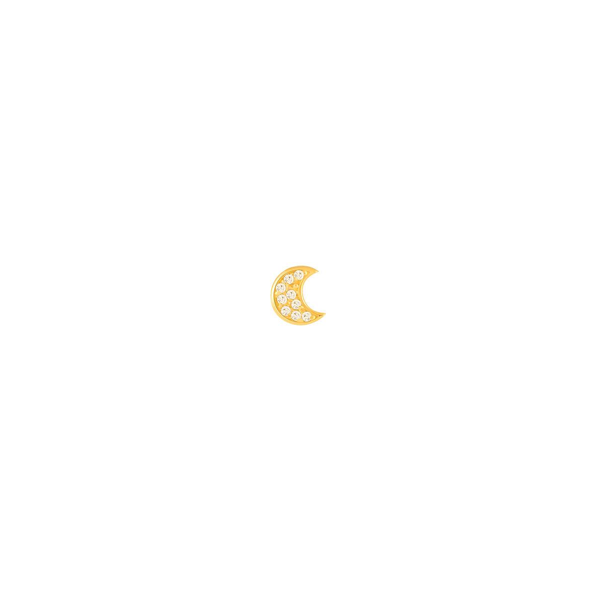 گوشواره طلا تک لنگه ای ماه نگین دار