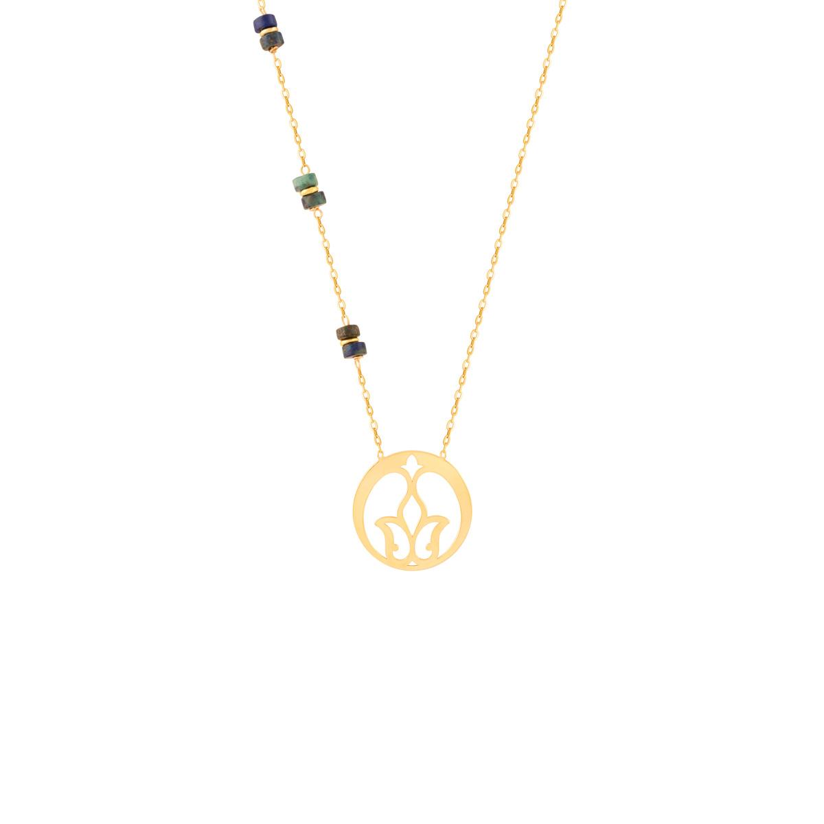 گردنبند طلا اسلیمی و لاجورد